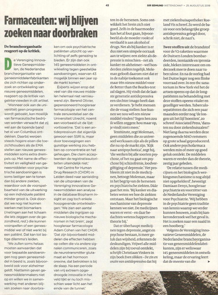 Artikel de Volkskrant: Waarom antidepressiva niet beter worden